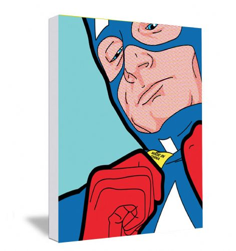 Captain America Zip  Canvas Framed Wall Art